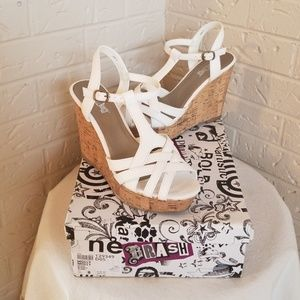 White sandle wedges